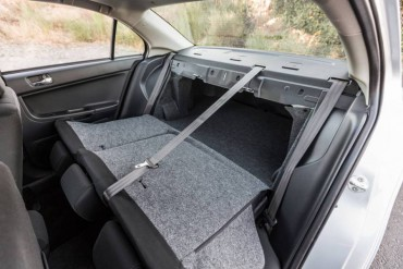 Split rear seats add utility to the Lancer GT.