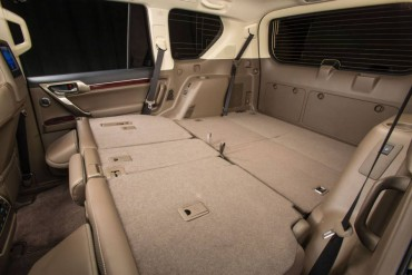 The Lexus GX460 has a large, flexible cargo space depending on how the two rows of seats are folded.