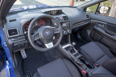 The Subaru WRX interior is spacious with supportive seats and a great flat bottom steering wheel.