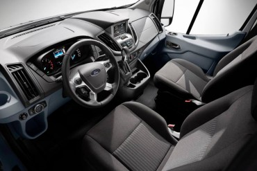 The Transit interior features car-like comfort and great storage areas to serve as mobile office.