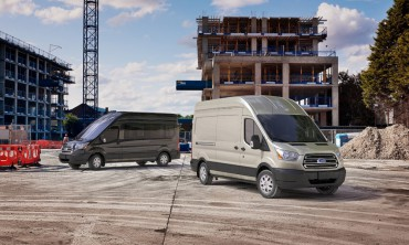 The 2015 Ford Transit van can be configured for cargo or passengers.