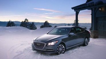 Winter driving is both safe and luxurious in the 2015 Hyundai Genesis AWD sedan.