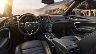 2015 Buick Regal GS Ebony interior with Soleil Keisel leather seats, contrast stitching and Diamo black decor.