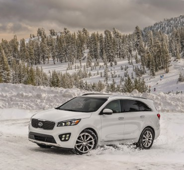 The Kia Sorento is mostly seen on paved roads,but it's very competent in the snow.