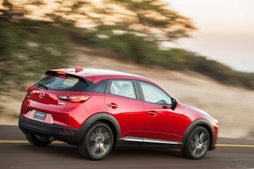 The Mazda CX-3 is notably shorter than the CX-5, especially from the rear view.