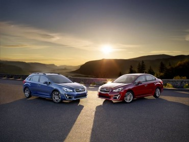 The Subaru Impreza is available as a five door hatchback (left) and a traditional four door sedan (right).