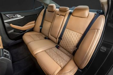 Rear seat room and comfort are ample. The upholstery pattern is distinctive.