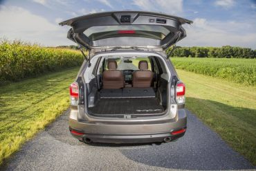 Forester cargo space is ample and flexible thanks to split, folding rear seats and a flat cargo deck.