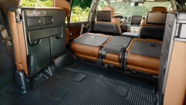 With seats down, there is amazing cargo space on the Toyota Land Cruiser.