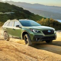 The Autumn Green Metallic exterior of the 2020 Subaru Outback is an unusual color, but for Subaru it makes sense as it exudes outdoor adventure.